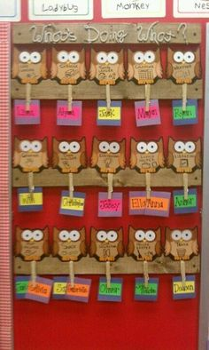 Owl-Themed Classroom Ideas - Classroom Bulletin Boards and Decor Preschool Classroom Jobs, Preschool Job Chart, Owl Classroom Decor, Classroom Job Chart, Classroom Helpers, Classroom Bulletin Boards, New Classroom, Classroom Themes, Classroom Design