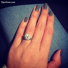 """✨""""Loving this ring! I can't keep my eyes off it. Thank you so much Tabitha! """"✨💕     #Thankyou to my wonderful client! She is wearing the 2.25 carat art deco halo wedding set. Shop Now at www.TigerGems.com. 🐯✨"""