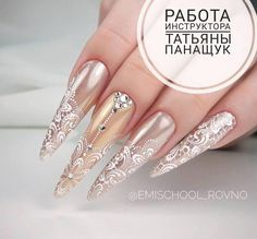 Nageldesign 50 Top Best Wedding Nail Art Designs To Be Inspired - Nails - Tina's Nails, Lace Nails, Sparkle Nails, Lace Nail Art, Beautiful Nail Designs, Beautiful Nail Art, Gorgeous Nails, Ongles Bling Bling, Bling Nails