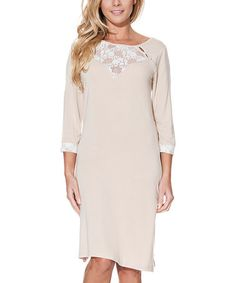 This Beige Lace-Accent Three-Quarter Sleeve Nightgown is perfect! #zulilyfinds