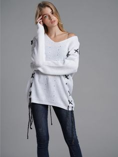 cfc11c449a6 Vinfemass Solid V-neck Threads Decor Knitted Loose Jumper