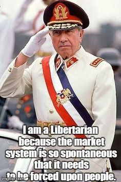 US-backed fascist military dictator of Chile - General Augusto Pinochet. Guilty for the mass murder of at least people and the torture of people in concentration camps.
