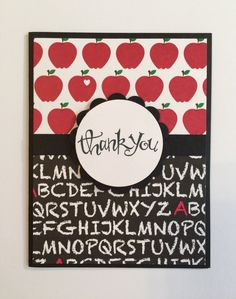 Handmade Teacher Thank You Card - Apples by JuliesPaperCrafts on Etsy