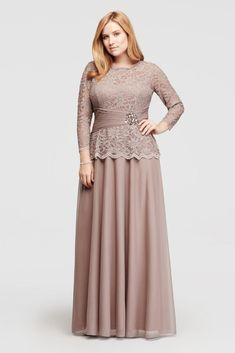 Plus Size Glitter Lace Long Sleeve Mother of Bride/Groom Dress - Mocha (Brown), 16W