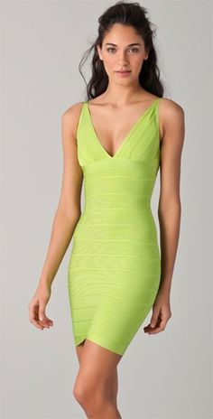 Herve Leger Lauren Bandage Dress Neon Yellow Only  209 Herve Leger Dress 33b8c1bd1