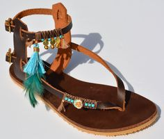 Genuine Handmade Bohemian Leather Sandals Decorated with