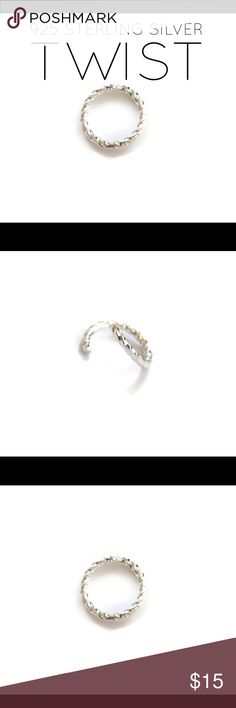 16G 7MM Nose/Cartilage Hoop Brand new solid .925 sterling silver seamless nose ring, cartilage hoop earring -(daith, helix, Tragus, rook, snug), eyebrow, lip,  nipple, or navel/belly button ring. Size 16 gauge, 7mm. Twisted design. nejd Jewelry Earrings