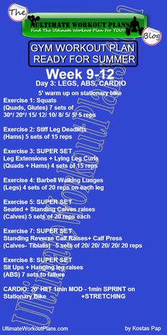 3 GYM WORKOUT PLAN READY FOR SUMMER MEN DAY 3 LEGS ABS CARDIO » UltimateWorkoutPlans.com