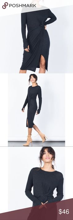 Knotted Front Dress Gathering at the waist enhances the flattering silhouette of a long sleeve knit dress with a contemporary asymmetrical hem.    Brand: Lush Made in: United States  Fiber Content: 77% rayon, 18% polyester, 5% spandex Lush Dresses Midi