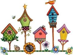Row Of Birdhouses Doodle Art, Doodle Drawings, Pintura Country, Decoupage, Image Clipart, Wild Bird Food, Wild Birds, House Quilts, Country Paintings