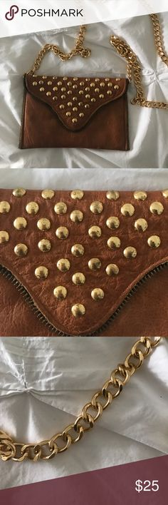 Ladies studded small bag. Small ladies studded cognac color handbag with gold chain. Bags Mini Bags
