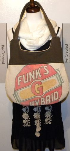 Vintage Funks G Hybrid seed sack upcycled by LoriesBags on Etsy