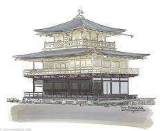 Viajar a Japón: Kyoto y el templo dorado Kyoto, Kawaii Anime, My Drawings, Big Ben, Building, Travel, Lakes, Home, Water Reflections