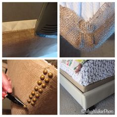 """I think box springs that shoe look terrible, so I ordered a roll of 14"""" wide burlap - just wide enough to cover the box springs sides and secure with a staple gun into the wood frame. I ordered brass upholstery tacks and hammered them down each corner of the box springs. You could do the same with any fabric, and there are a variety of tacks to choose from as well."""