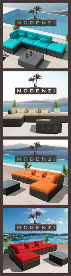 Ideas for patio furniture rattan modern Sectional Patio Furniture, Wicker Patio Furniture, Wicker Sofa, Best Outdoor Furniture, Rattan, Sofa Chair, Furniture Ideas, Modern Furniture, Sofas