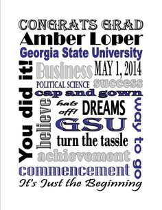 Personalized Printable Custom College Graduation Grad Degree Subway Art Sign Gift on Etsy, $8.00