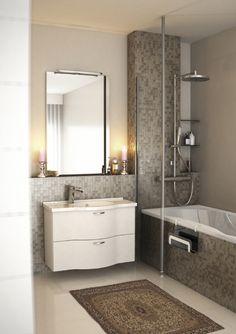 Tämän kylpyhuonetilan sisustuksessa korostuu seesteisen tunnelmallinen ilme ja hillityt, maanläheiset värisävyt. Klikkaa kuvaa, niin näet tarkemmat tiedot!