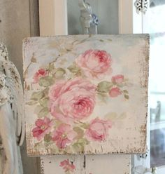 Shabby Chic Large Roses Birdhouse with Crystal Pearl Perch and Bucket