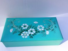 Vintage 1960s Jewelry Box/Glove Case Padded 1950s Stationery Box.... Turquoise Flower - Mid Century!! Excellent, Vintage Condition!! by OneVintageJunky on Etsy