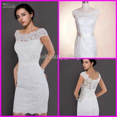 Wholesale 2013 Lace Bateau Neckline Sheath Beach Wedding Dresses Short Simple Cap Sleeves Garden Bridal Gowns, Free shipping, $97.44-119.99/Piece | DHgate