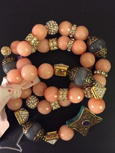 SALE** 3 Bracelet stack with Tibetan vintage beads and various crystal accents