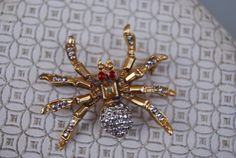 Vintage Goldtone and Silvertone Spider Brooch by LincaraVintage, $22.00