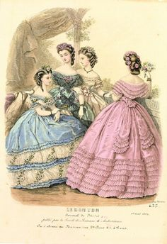 Victorian fashion. Look at the back view of that pink dress. And the bodice detail on the green one.