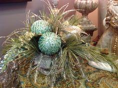 Christmas floral arrangement idea. Love the teal.