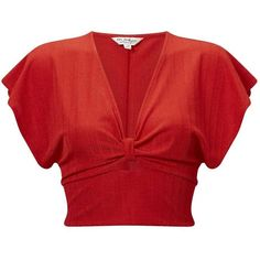Miss Selfridge Red Plisse Angel Sleeve Crop Top (£37) ❤ liked on Polyvore featuring tops, red, cropped tops, v neck crop top, red top, fitted crop tops and red crop top