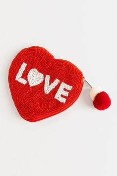 Love Heart Shaped Beaded Tassel Pouch You Loose, Love Heart, Heart Shapes, Tassels, Coin Purse, Red, Gifts, Pouches, Cushion
