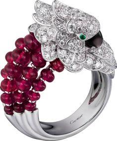 Les Oiseaux Libérés ring White gold, gray mother-of-pearl, emeralds, rubies, diamonds.