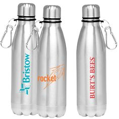 Schuerholz Printing from Kettering OH USA 26 oz. stainless steel water bottle with screw on lid and carabiner. One color/two location imprint included. Stainless Steel Water Bottle, One Color, Health And Wellness, Drinks, Drinking, Health Fitness, Drink, Cocktails