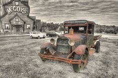 Image taken in Pigeon Forge Tennessee.  Processing completed using Photoshop CS5 and Topaz Adjust 5. The Old Car BW Image | Flickr - Photo Sharing!