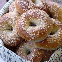 """Homemade Bagels- I used a bread machine to make dough-also made my own """"everything"""" bagel mix(dried onion, garlic, salt , poppy seeds etc.)and Salt Bagels used kosher or sea salt it's coarser! My favourite! Bread Machine Recipes, Bread Recipes, Cooking Recipes, Fruit Recipes, Recipies, How To Make Bagels, Brunch, Homemade Bagels, Bagel Recipe"""