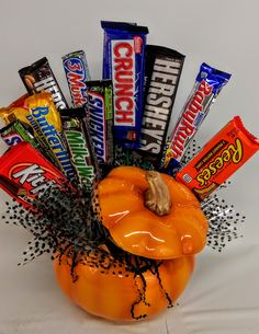 Great for October - pumpkin filled with candy! Created by Elizabeth at Higdon Florist