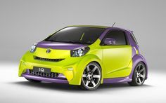 #ToyotaIQ, here's it with a #DoubleColor #covering : #purple and #FluorescentGreen, a very #trendy colors ;)