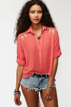 Laced Tail Blouse - Coral  $48.00