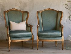 Antique French Louis XVI Wing Back Bergeres Blue Mohair-shabby, gold, floral,upholstered, burlap,cream,furniture,rose