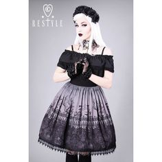 """""""CEMETERY GRAY"""" gothic lolita skirt, graveyard, guipure ($45) ❤ liked on Polyvore featuring skirts, goth skirt, gothic skirts, grey skirt, gothic lolita skirts and gray skirt"""