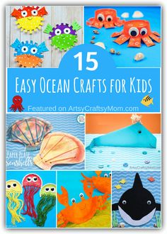 This World Oceans Day, let's learn about the creatures that live there with some cute ocean crafts for kids! Packed with fun little facts on different ocean creatures! #oceancrafts #worldoceanday #underthesea #craftsforkids #artsycraftsymom