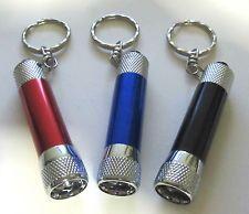 3 Keychain mini flashlights/Super bright LED/Metal/Red/Black/Blue w misprint NEW