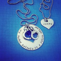 My Heart Belongs To A Police Officer - Love Necklace - Police Man - Trooper - Highway Patrol Officer. $32.00, via Etsy.