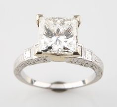 Platinum Diamond Ring w/ GIA-certified 3.16 ct Square Cut Diamond TDW = 3.36 #SolitairewithAccents