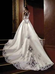 Long wedding dress.