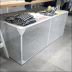 White Expanded Metal Display Base – Fixtures Close Up – Fixtures 2020 White Furniture, Metal Furniture, Expanded Metal Mesh, Door Grill, Store Fixtures, Retail Design, Bike Storage, Base, Industrial Metal