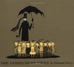 I will NEVER forget coming across this book when I was little. So of course it was a must-have as an adult!  The Gashlycrumb Tinies by Edward Gorey, http://www.amazon.com/dp/0151003084/ref=cm_sw_r_pi_dp_8kkAqb0YT3HEP
