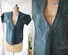 Vintage Suede Shirt    Dark & Stormy  Deep by PomegranateVintage, $36.99