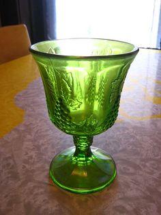 Green Harvest Carnival Glass Goblet