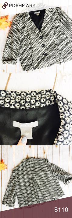 Ann Taylor Flowered Peacoat Blazer ★ Excellent Condition ★ Reasonable Offers Accepted  ★ Measurements Available Upon Request ★ Fabric Makeup Available Upon Request  ★ NO TRADES (dais4) Ann Taylor Jackets & Coats Blazers