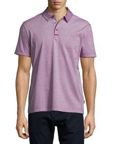 Rapino Slub Short-Sleeve Polo Shirt, Red, Size: SMALL - Boss Hugo Boss